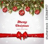 christmas background fir and... | Shutterstock .eps vector #352868957