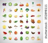 fruits and vegetables set  ... | Shutterstock .eps vector #352898111