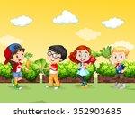 children with fresh vegetables... | Shutterstock .eps vector #352903685