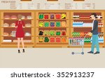people in supermarket grocery... | Shutterstock .eps vector #352913237