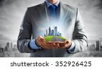 close up of businessman holding ... | Shutterstock . vector #352926425