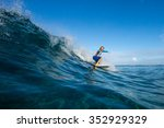 muscular surfer with long white ... | Shutterstock . vector #352929329