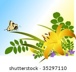 floral background with lily ... | Shutterstock .eps vector #35297110