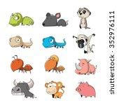 funny animal vector... | Shutterstock .eps vector #352976111