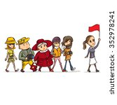 tour guide with group of... | Shutterstock .eps vector #352978241