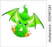 dragon green scary fire... | Shutterstock .eps vector #352987181