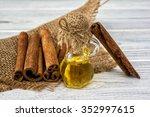 essential cinnamon oil in...   Shutterstock . vector #352997615