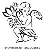 angel with a bouquet of flowers | Shutterstock .eps vector #353008559