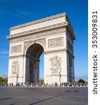 famous arc de triomphe  paris ...   Shutterstock . vector #353009831