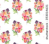 seamless pattern with a bouquet ... | Shutterstock .eps vector #353014631