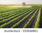 Tractor Spraying Soybean Field...