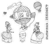 baroque hot air balloons  women ...   Shutterstock .eps vector #353036879