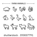 farm animals  thin line style ... | Shutterstock .eps vector #353037791