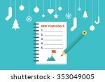 illustration of new year goals... | Shutterstock .eps vector #353049005