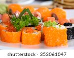 set of sushi roll japanese food ... | Shutterstock . vector #353061047