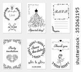 set of hand drawn wedding... | Shutterstock .eps vector #353063195