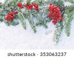 christmas tree branch with... | Shutterstock . vector #353063237