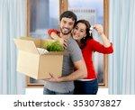 young happy hispanic couple...   Shutterstock . vector #353073827
