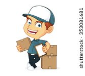 delivery man holding a package | Shutterstock .eps vector #353081681