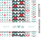set of 3 seamless vector... | Shutterstock .eps vector #353085779