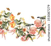 Spring Watercolor Border With...