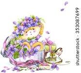 cute teddy bear and flower... | Shutterstock . vector #353087699