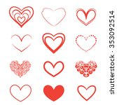 a set of hearts on a white... | Shutterstock .eps vector #353092514