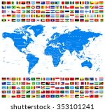 all flags and world map  ... | Shutterstock .eps vector #353101241