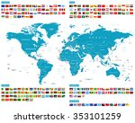 all flags and world map  ... | Shutterstock .eps vector #353101259