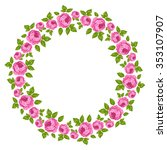 beautiful round frame of roses | Shutterstock .eps vector #353107907