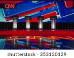 Small photo of LAS VEGAS, NV, Dec 15, 2015, Empty Podiums at the CNN Republican presidential debate at The Venetian Resort and Casino, Las Vegas, NV
