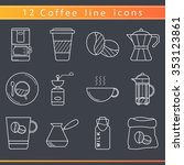 set of isolated coffee elements ... | Shutterstock .eps vector #353123861