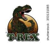 aggressive t rex illustration | Shutterstock .eps vector #353131085