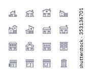 buildings icons | Shutterstock .eps vector #353136701
