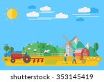 Flat Design  Farmers Working I...