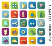 beach color icons with long... | Shutterstock .eps vector #353149541