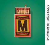 matchbox and matches  top view... | Shutterstock .eps vector #353153279