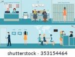bank building interior counter... | Shutterstock .eps vector #353154464