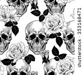 skull and roses. vector... | Shutterstock .eps vector #353168471