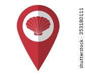 shell   vector icon  red map ... | Shutterstock .eps vector #353180111
