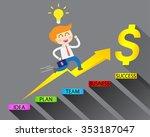 businessman climbing ladder to... | Shutterstock .eps vector #353187047