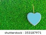 signs wooden blue heart on...   Shutterstock . vector #353187971