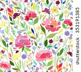 seamless pattern with bright... | Shutterstock .eps vector #353191385