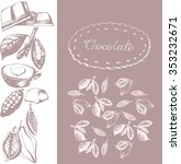 cocoa beans  chocolate.  labels ... | Shutterstock .eps vector #353232671