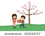 cartoon boy giving girl a gift... | Shutterstock .eps vector #353233727