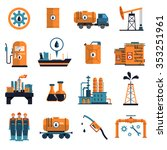 oil icons set with petrol and... | Shutterstock .eps vector #353251961
