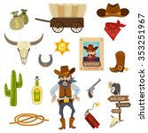 cowboy icons set with dynamite... | Shutterstock .eps vector #353251967