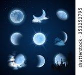 Moonlight Night Set With Moon...