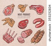 meat products color sketches... | Shutterstock .eps vector #353252834