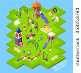 poster of playgrond slides... | Shutterstock .eps vector #353253761
